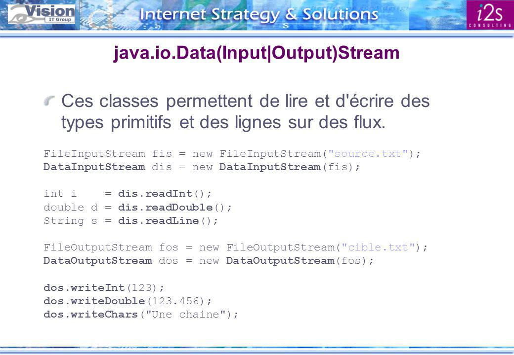 java.io.Data(Input|Output)Stream Ces classes permettent de lire et d'écrire des types primitifs et des lignes sur des flux. FileInputStream fis = new