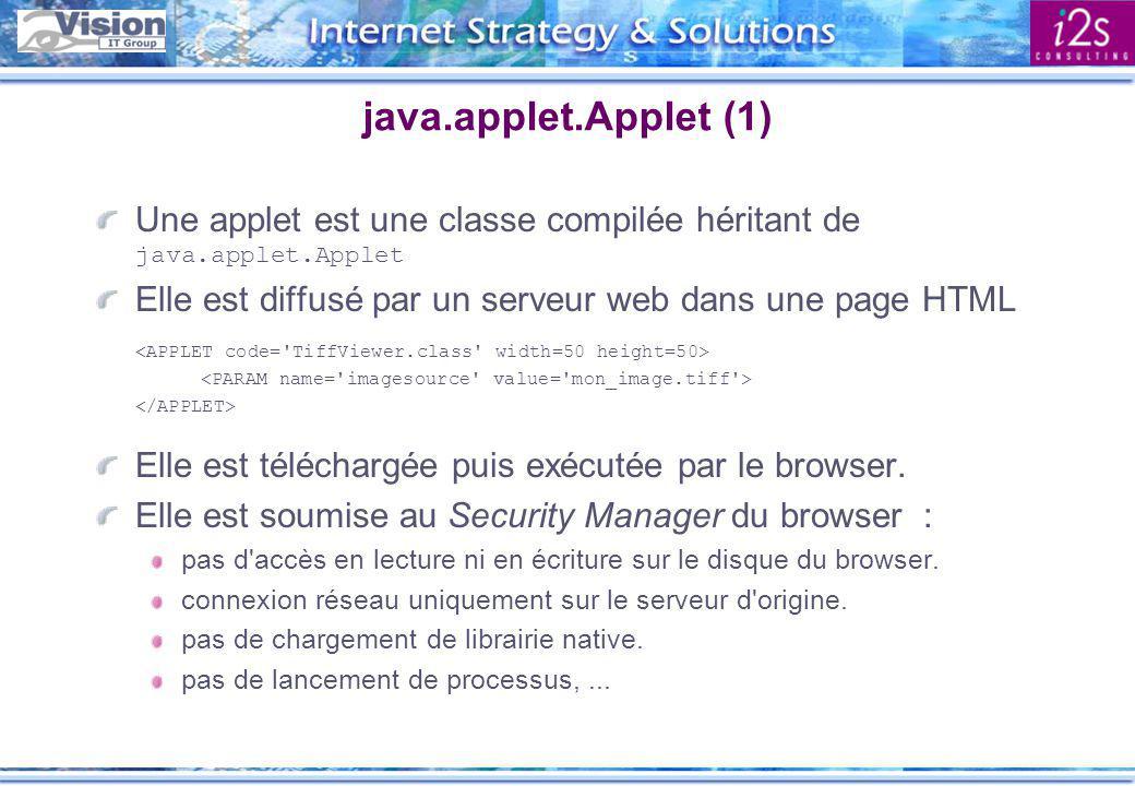 java.applet.Applet (2) Structure d une applet public class MyApplet extends java.applet.Applet { public void init() {...} public void start() {...} public void paint(java.awt.graphics g) {...} public void stop() {...} public void destroy() {...} }
