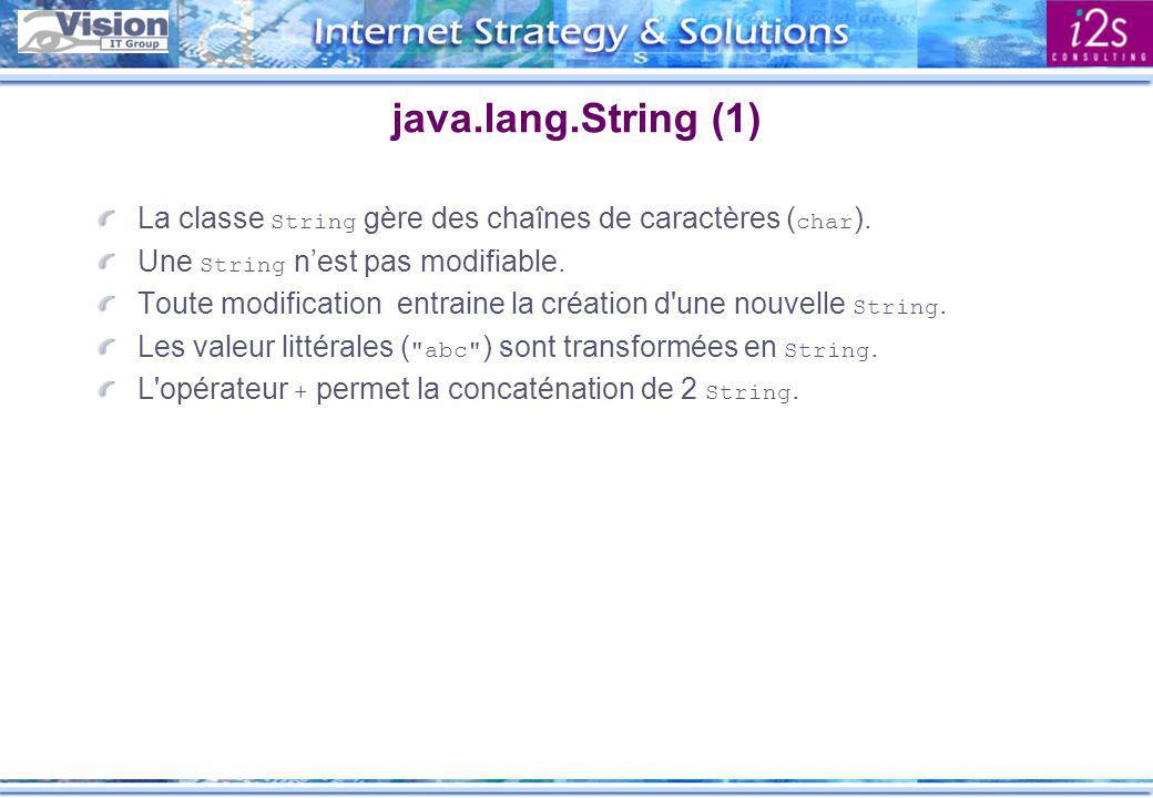 Java.lang.String (2) String s = \u00catre ou ne pas \u00eaetre ; // s = Être ou ne pas être int lg = s.length(); // lg = 19 String s = Java + Soft ; // s = JavaSoft String s = (String) new URL( http://server/big.txt ).getContent(); char[] data = { J , a , v , a }; String name = new String(data); String s = String.valueOf(2 * 3.14159); // s = 6.28318 String s = String.valueOf(new Date()); // s = Sat Jan 18 12:10:36 GMT+0100 1997 int i = Integer.valueOf( 123 ); // i = 123 String s = java ; if (s == java ) {...} // Erreur if (s.equals( java ) {...} // Ok