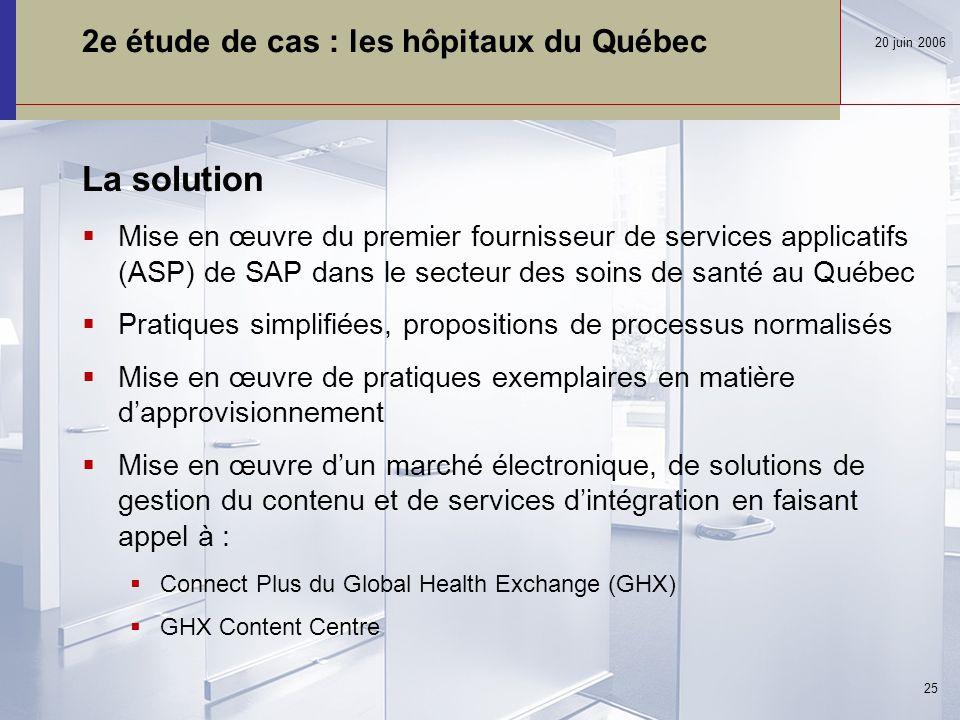 2e étude de cas : les hôpitaux du Québec La solution  Mise en œuvre du premier fournisseur de services applicatifs (ASP) de SAP dans le secteur des soins de santé au Québec  Pratiques simplifiées, propositions de processus normalisés  Mise en œuvre de pratiques exemplaires en matière d'approvisionnement  Mise en œuvre d'un marché électronique, de solutions de gestion du contenu et de services d'intégration en faisant appel à :  Connect Plus du Global Health Exchange (GHX)  GHX Content Centre 20 juin 2006 25