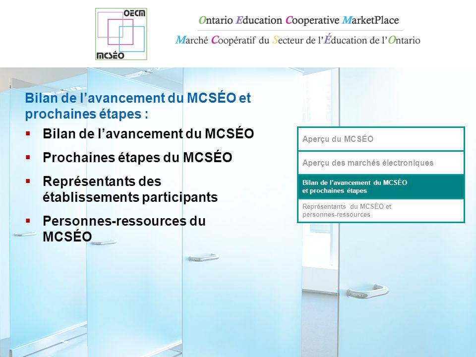  Bilan de l'avancement du MCSÉO  Prochaines étapes du MCSÉO  Représentants des établissements participants  Personnes-ressources du MCSÉO Aperçu du MCSÉO Aperçu des marchés électroniques Bilan de l'avancement du MCSÉO et prochaines étapes Représentants du MCSÉO et personnes-ressources Bilan de l'avancement du MCSÉO et prochaines étapes :