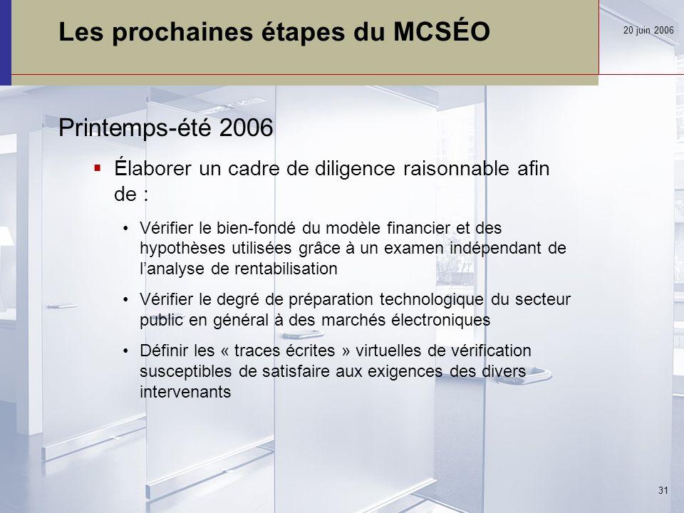 Les prochaines étapes du MCSÉO Printemps-été 2006  Élaborer un cadre de diligence raisonnable afin de : Vérifier le bien-fondé du modèle financier et des hypothèses utilisées grâce à un examen indépendant de l'analyse de rentabilisation Vérifier le degré de préparation technologique du secteur public en général à des marchés électroniques Définir les « traces écrites » virtuelles de vérification susceptibles de satisfaire aux exigences des divers intervenants 20 juin 2006 31