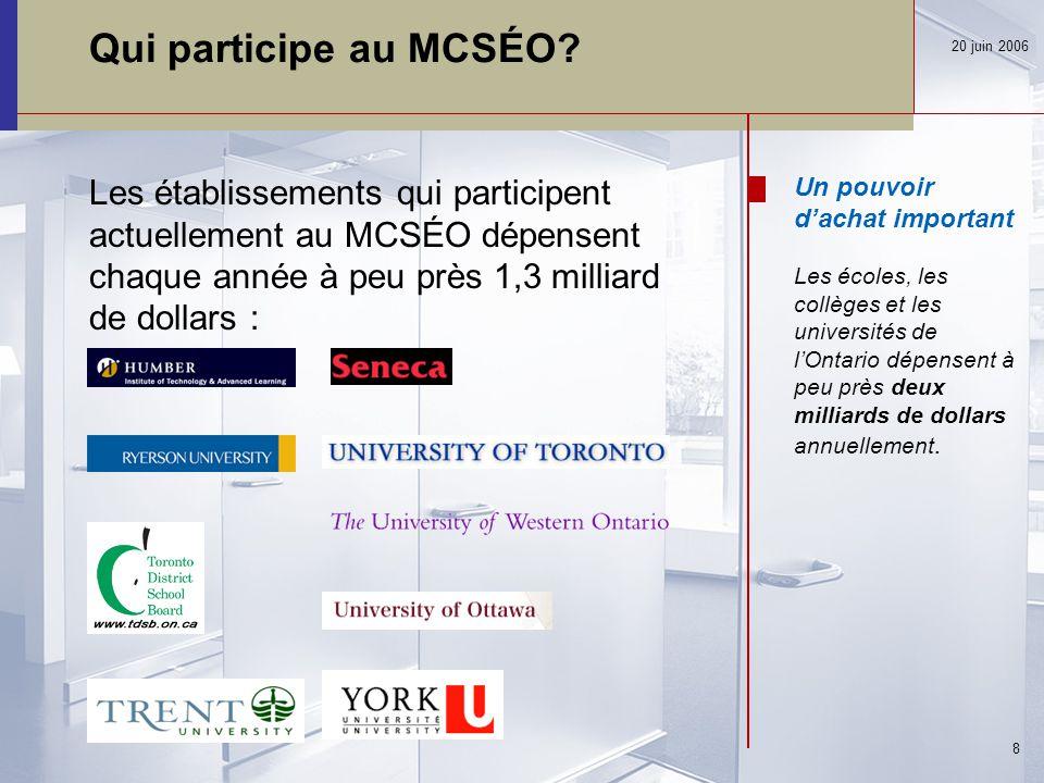 Bilan de l'avancement du MCSÉO 20 juin 2006 29 mars 2004 AchatsOntario est lancé aout 2005 Le MCSÉO débute la phase 1 de ses travaux, à savoir l'évaluation de la possibilité de mise en œuvre d'un marché pour l'approvisionnement en ligne avril 2006 La phase 2 du MCSÉO reçoit un financement de 1,2 M$ novembre 2005 Le MCSÉO complète la phase 1, et relève d'importantes économies à réaliser sur le plan des finances et des opérations mai 2006 Début de la phase 2 du MCSÉO : la sélection du logiciel et la conception détaillée mars 2005 Un petit groupe de professionnels en approvisionnement, représentant des universités, des collèges et des conseils scolaires, élaborent une demande de financement pour le ministère des Finances