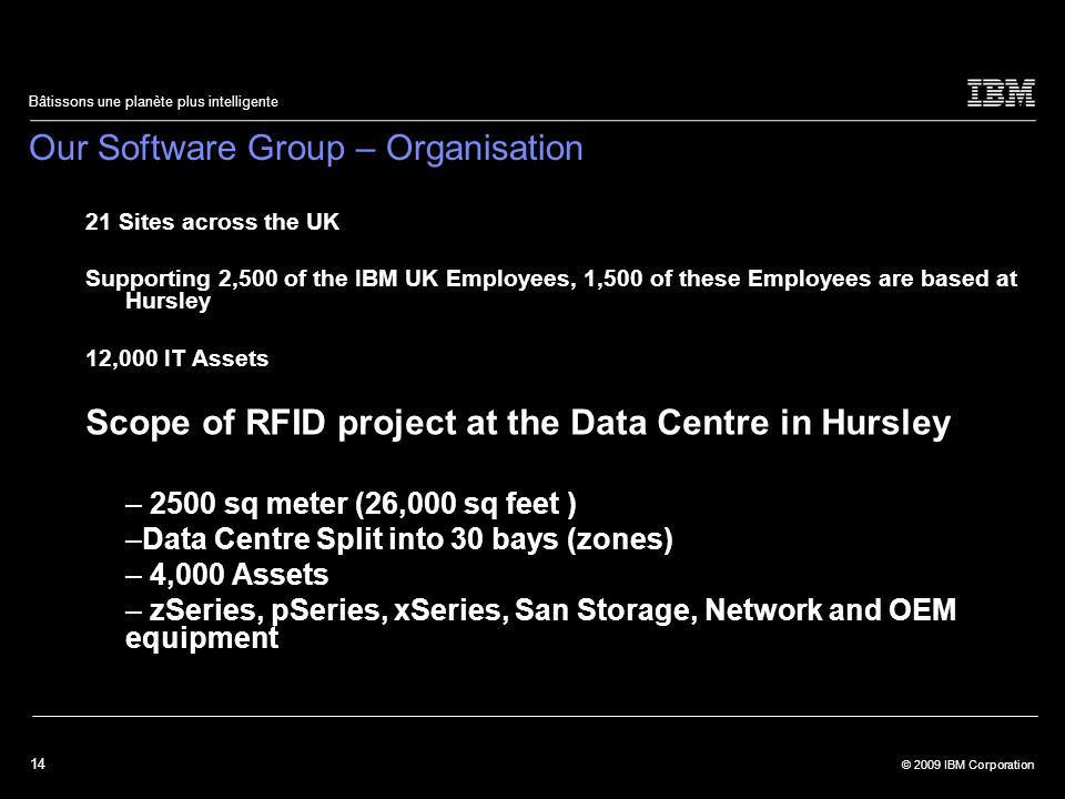14 © 2009 IBM Corporation Bâtissons une planète plus intelligente Our Software Group – Organisation 21 Sites across the UK Supporting 2,500 of the IBM UK Employees, 1,500 of these Employees are based at Hursley 12,000 IT Assets Scope of RFID project at the Data Centre in Hursley – 2500 sq meter (26,000 sq feet ) –Data Centre Split into 30 bays (zones) – 4,000 Assets – zSeries, pSeries, xSeries, San Storage, Network and OEM equipment