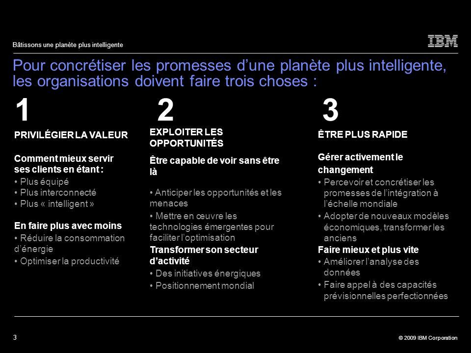 3 © 2009 IBM Corporation Bâtissons une planète plus intelligente Pour concrétiser les promesses d'une planète plus intelligente, les organisations doivent faire trois choses : PRIVILÉGIER LA VALEUR Comment mieux servir ses clients en étant : Plus équipé Plus interconnecté Plus « intelligent » En faire plus avec moins Réduire la consommation d'énergie Optimiser la productivité 12 ÊTRE PLUS RAPIDE Gérer activement le changement Percevoir et concrétiser les promesses de l'intégration à l'échelle mondiale Adopter de nouveaux modèles économiques, transformer les anciens Faire mieux et plus vite Améliorer l'analyse des données Faire appel à des capacités prévisionnelles perfectionnées 3 EXPLOITER LES OPPORTUNITÉS Être capable de voir sans être là Anticiper les opportunités et les menaces Mettre en œuvre les technologies émergentes pour faciliter l'optimisation Transformer son secteur d'activité Des initiatives énergiques Positionnement mondial