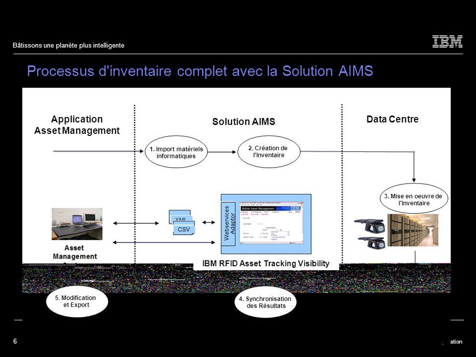 6 © 2009 IBM Corporation Bâtissons une planète plus intelligente Processus d inventaire complet avec la Solution AIMS 1.