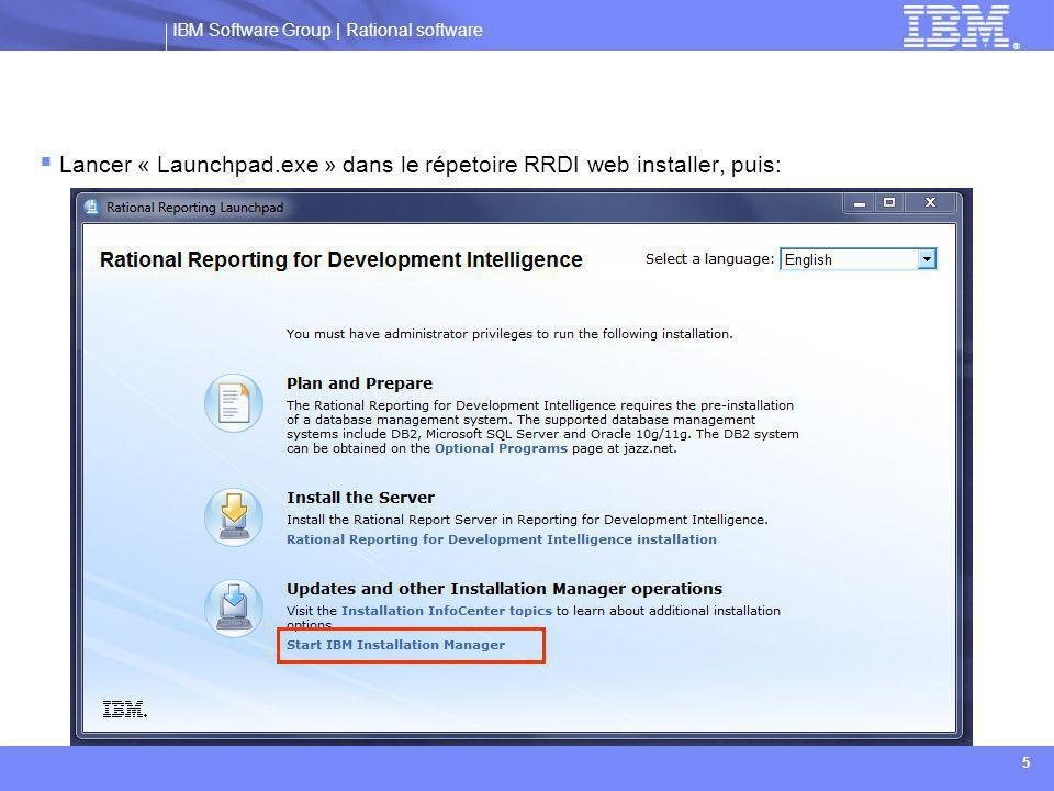 IBM Software Group | Rational software ® 16  URL du serveur Jazz: indiquer l'url, suivie de /jts  Exemple: https://Nom_Serveur_Jazz:9443/jtshttps://Nom_Serveur_Jazz:9443/jts  Nom de domaine complet ou adresse IP de Rational Report Server:  Remplir cette information avec le nom de domaine complet.