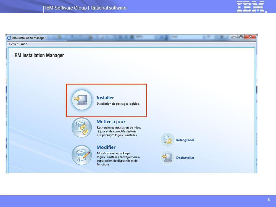 IBM Software Group | Rational software ® 17  Définir les propriétés de connection au référentiel:  Le pilote installé utilise une base DB2 9.7, avec les identifiants suivants:  Compte administrateur: db2admin  Mot de passe: admin
