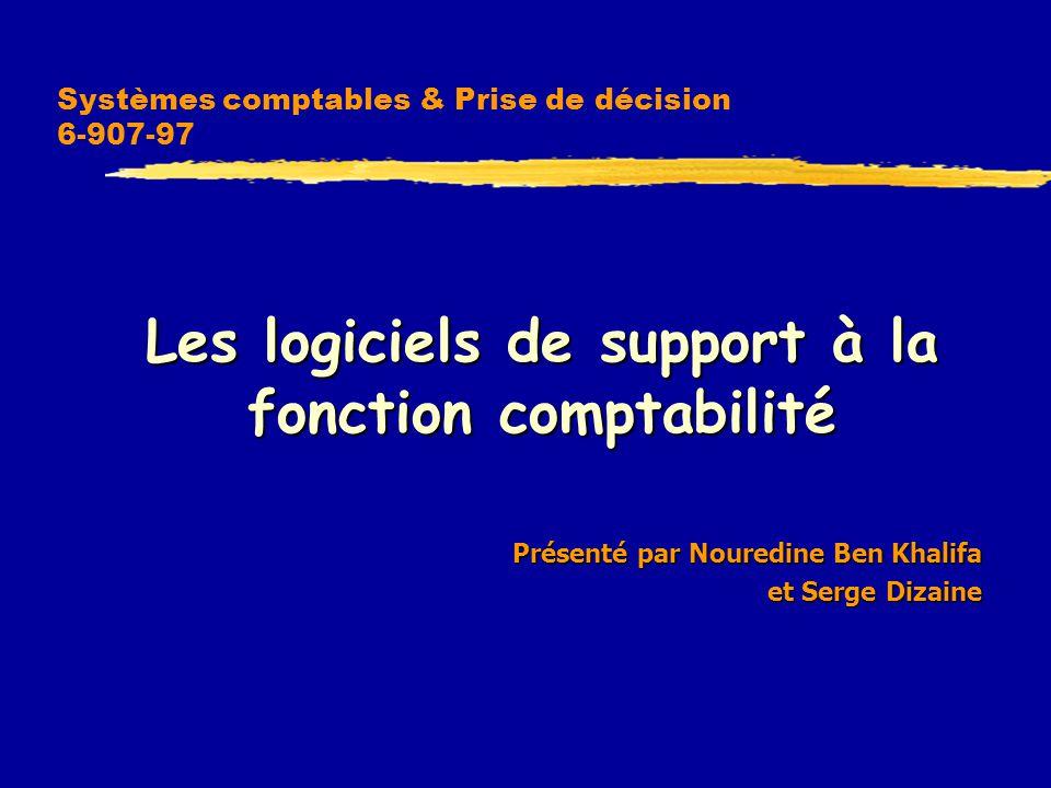Systèmes comptables & Prise de décision 6-907-97  Les logiciels de support à la fonction comptabilité Présenté par Nouredine Ben Khalifa Présenté par