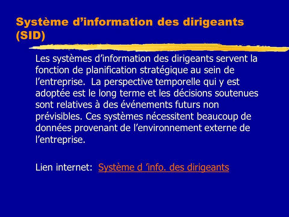 Système d'information des dirigeants (SID) Les systèmes d'information des dirigeants servent la fonction de planification stratégique au sein de l'entreprise.