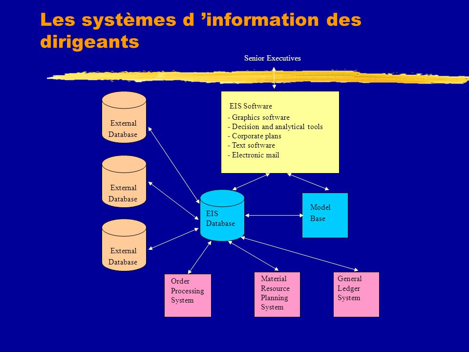 Les systèmes d 'information des dirigeants Order Processing System EIS Database External Database External Database External Database Material Resource Planning System General Ledger System Model Base EIS Software - Graphics software - Decision and analytical tools - Corporate plans - Text software - Electronic mail Senior Executives