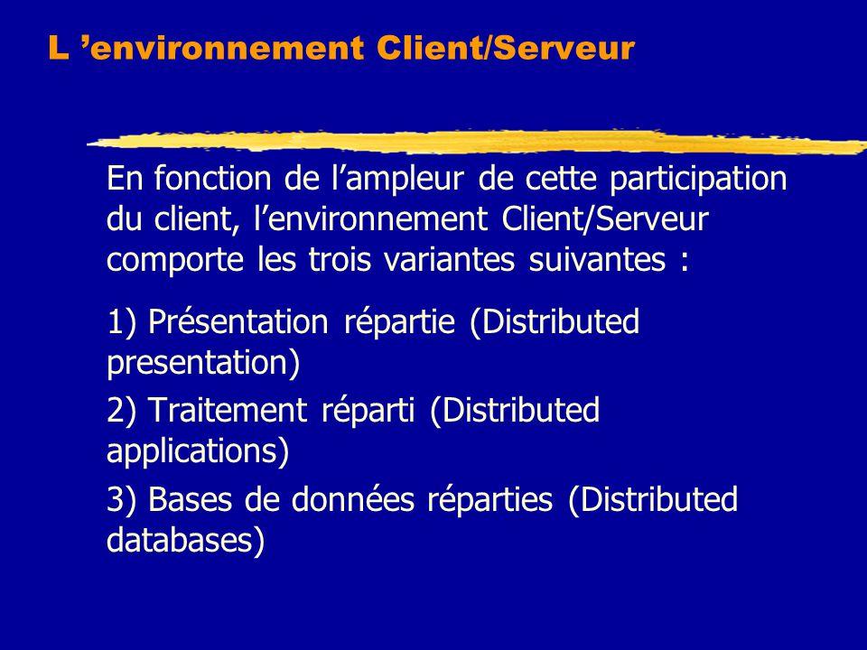 L 'environnement Client/Serveur En fonction de l'ampleur de cette participation du client, l'environnement Client/Serveur comporte les trois variantes suivantes : 1) Présentation répartie (Distributed presentation) 2) Traitement réparti (Distributed applications) 3) Bases de données réparties (Distributed databases)