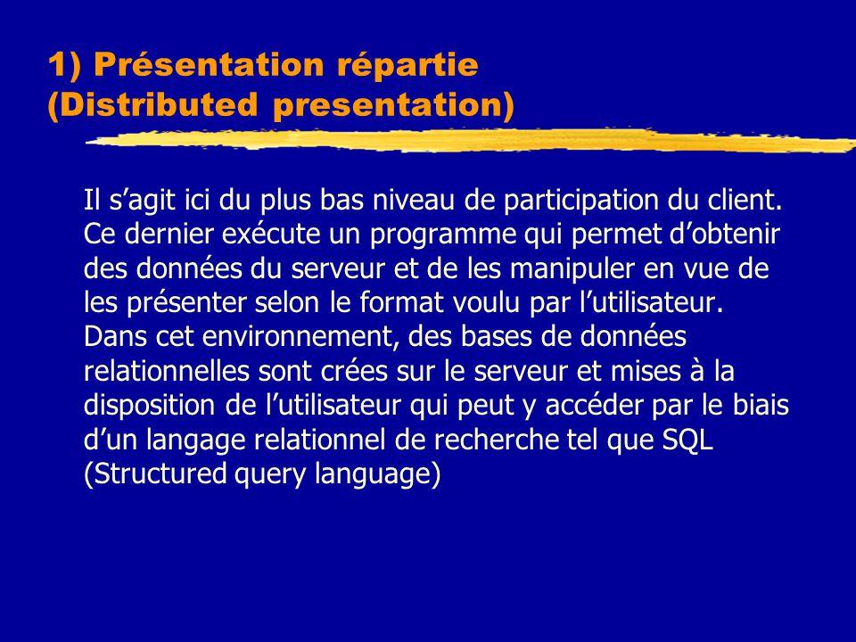 1) Présentation répartie (Distributed presentation) Il s'agit ici du plus bas niveau de participation du client. Ce dernier exécute un programme qui p