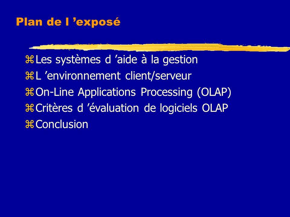 Plan de l 'exposé zLes systèmes d 'aide à la gestion zL 'environnement client/serveur zOn-Line Applications Processing (OLAP) zCritères d 'évaluation de logiciels OLAP zConclusion