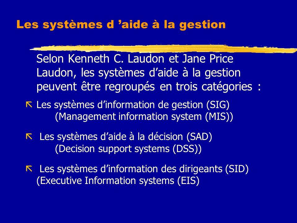 Les systèmes d 'aide à la gestion Selon Kenneth C. Laudon et Jane Price Laudon, les systèmes d'aide à la gestion peuvent être regroupés en trois catég