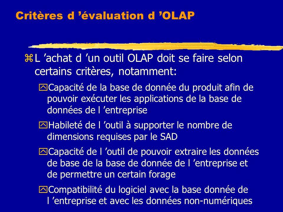 Critères d 'évaluation d 'OLAP zL 'achat d 'un outil OLAP doit se faire selon certains critères, notamment: yCapacité de la base de donnée du produit afin de pouvoir exécuter les applications de la base de données de l 'entreprise yHabileté de l 'outil à supporter le nombre de dimensions requises par le SAD yCapacité de l 'outil de pouvoir extraire les données de base de la base de donnée de l 'entreprise et de permettre un certain forage yCompatibilité du logiciel avec la base donnée de l 'entreprise et avec les données non-numériques