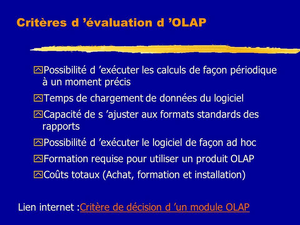 Critères d 'évaluation d 'OLAP yPossibilité d 'exécuter les calculs de façon périodique à un moment précis yTemps de chargement de données du logiciel yCapacité de s 'ajuster aux formats standards des rapports yPossibilité d 'exécuter le logiciel de façon ad hoc yFormation requise pour utiliser un produit OLAP yCoûts totaux (Achat, formation et installation) Lien internet :Critère de décision d 'un module OLAPCritère de décision d 'un module OLAP