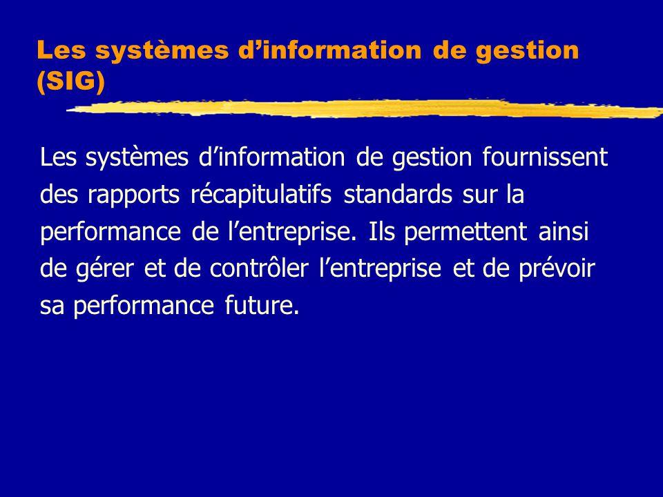 Les systèmes d'information de gestion (SIG) Les systèmes d'information de gestion fournissent des rapports récapitulatifs standards sur la performance de l'entreprise.