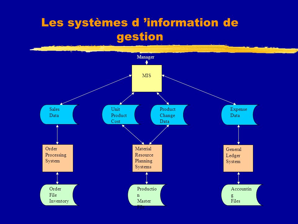 Les systèmes d 'information de gestion Unit Product Cost Product Change Data Expense Data Sales Data Order File Inventory Productio n Master File Accountin g Files Material Resource Planning Systems General Ledger System MIS Order Processing System Manager