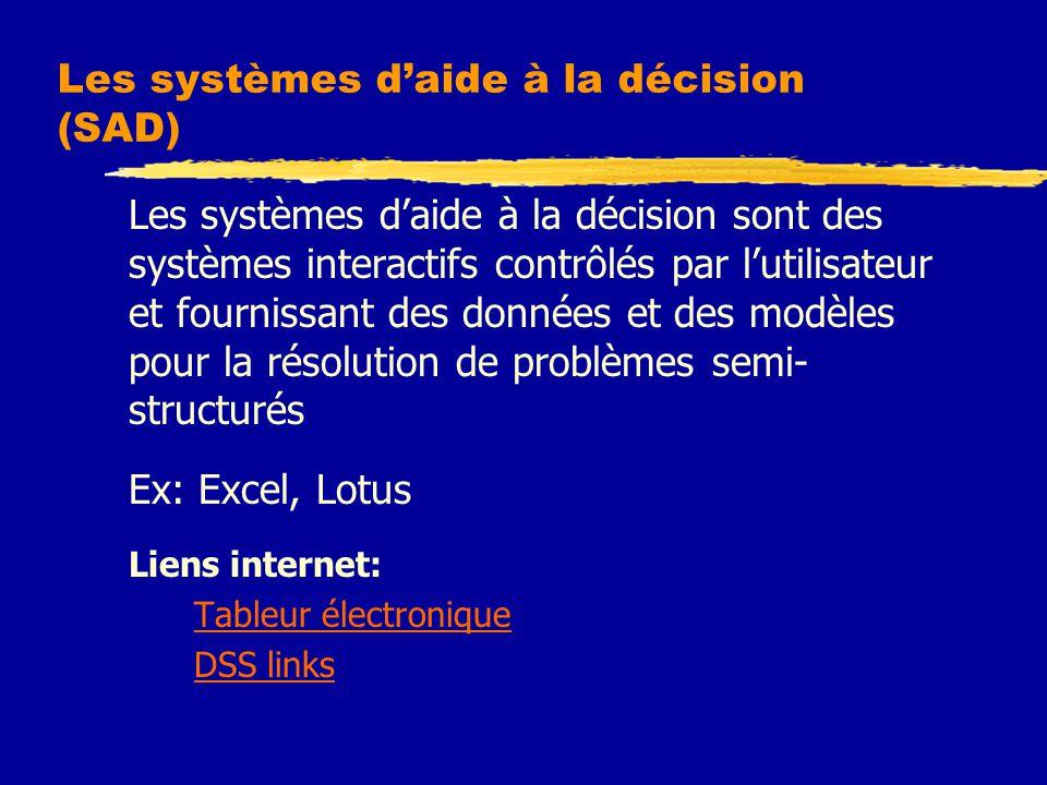 Les systèmes d'aide à la décision (SAD) Les systèmes d'aide à la décision sont des systèmes interactifs contrôlés par l'utilisateur et fournissant des données et des modèles pour la résolution de problèmes semi- structurés Ex: Excel, Lotus Liens internet: Tableur électronique DSS links