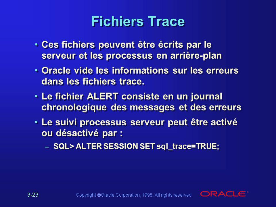 3-23 Copyright  Oracle Corporation, 1998. All rights reserved. Fichiers Trace Ces fichiers peuvent être écrits par le serveur et les processus en arr