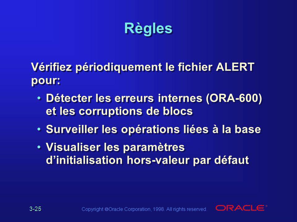 3-25 Copyright  Oracle Corporation, 1998. All rights reserved. Règles Vérifiez périodiquement le fichier ALERT pour: Détecter les erreurs internes (O
