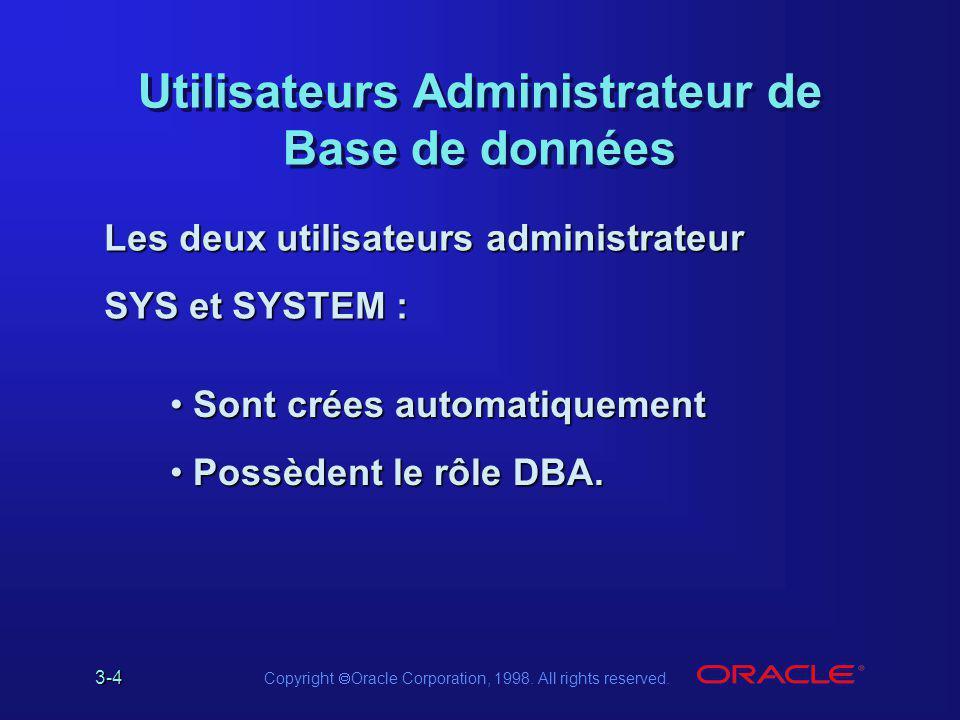 3-4 Copyright  Oracle Corporation, 1998. All rights reserved. Utilisateurs Administrateur de Base de données Sont crées automatiquement Sont crées au