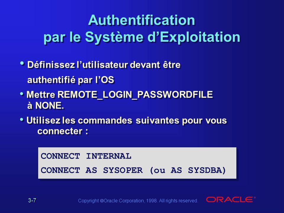 3-7 Copyright  Oracle Corporation, 1998. All rights reserved. Authentification par le Système d'Exploitation Définissez l'utilisateur devant être aut