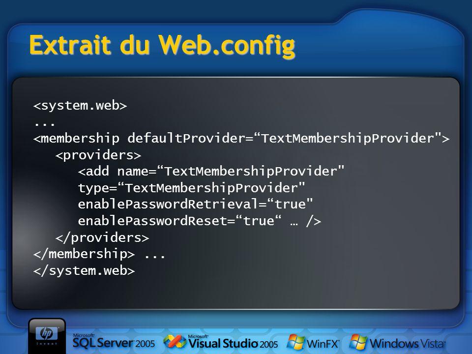 "Extrait du Web.config... <add name=""TextMembershipProvider"