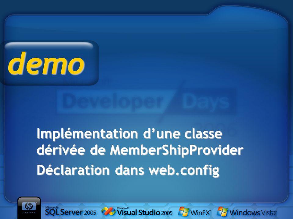 Implémentation d'une classe dérivée de MemberShipProvider Déclaration dans web.config demo