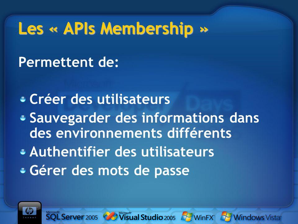 Les « APIs Membership » Permettent de: Créer des utilisateurs Sauvegarder des informations dans des environnements différents Authentifier des utilisateurs Gérer des mots de passe