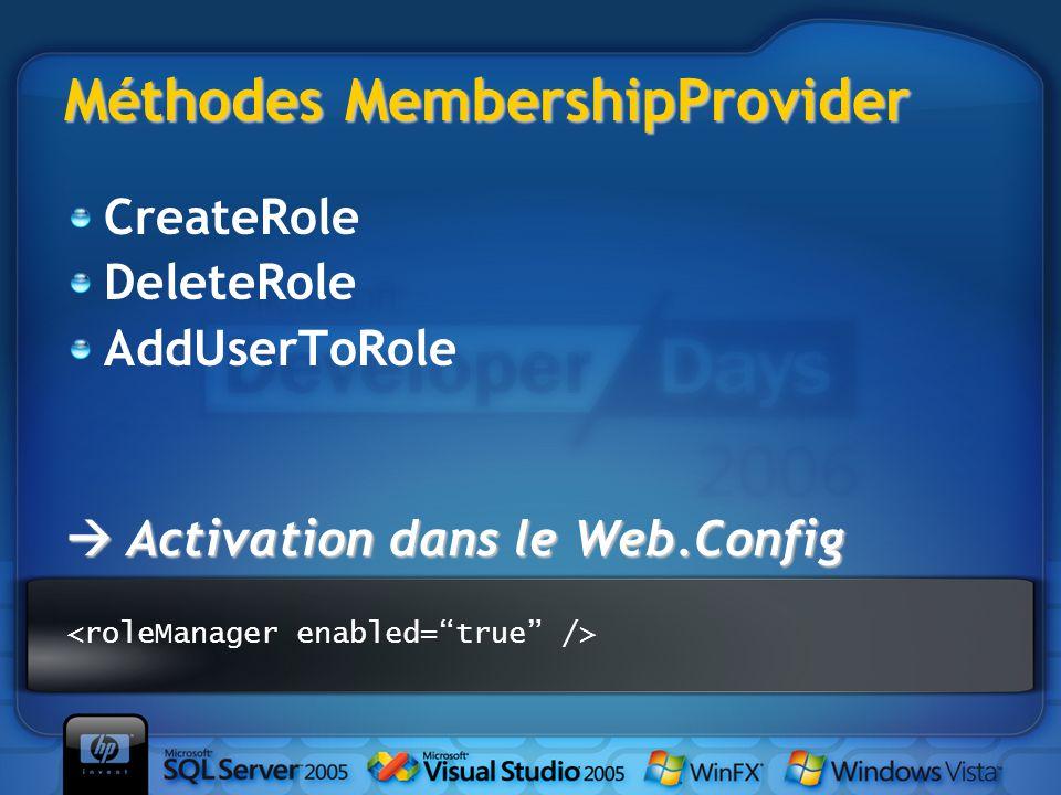 Méthodes MembershipProvider CreateRole DeleteRole AddUserToRole  Activation dans le Web.Config