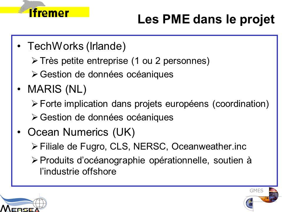 GMES Les PME dans le projet TechWorks (Irlande)  Très petite entreprise (1 ou 2 personnes)  Gestion de données océaniques MARIS (NL)  Forte implication dans projets européens (coordination)  Gestion de données océaniques Ocean Numerics (UK)  Filiale de Fugro, CLS, NERSC, Oceanweather.inc  Produits d'océanographie opérationnelle, soutien à l'industrie offshore