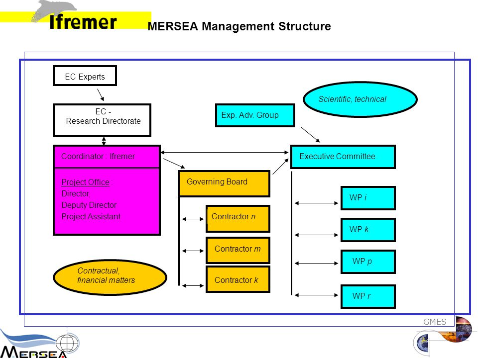 GMES MERSEA Management Structure Scientific, technical Executive Committee WP p WP k WP i WP r EC - Research Directorate Coordinator : Ifremer Project Office : Director, Deputy Director Project Assistant Contractual, financial matters EC Experts Exp.