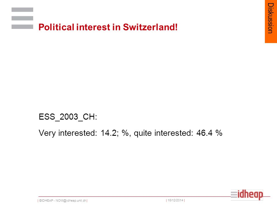 | ©IDHEAP - NOM@idheap.unil.ch | | 16/12/2014 | Political interest in Switzerland.