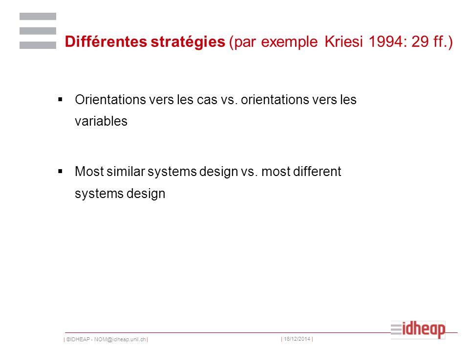 | ©IDHEAP - NOM@idheap.unil.ch | | 16/12/2014 | Différentes stratégies (par exemple Kriesi 1994: 29 ff.)  Orientations vers les cas vs.