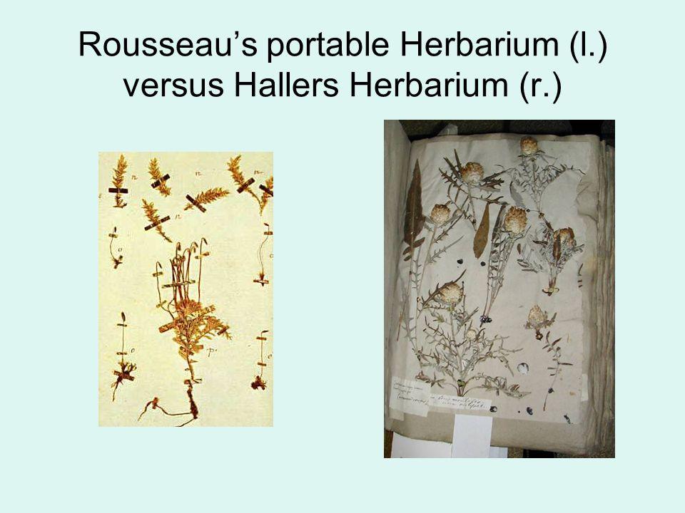 Rousseau's portable Herbarium (l.) versus Hallers Herbarium (r.)