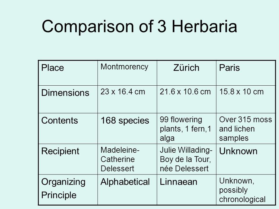 Comparison of 3 Herbaria Place Montmorency ZürichParis Dimensions 23 x 16.4 cm21.6 x 10.6 cm15.8 x 10 cm Contents168 species 99 flowering plants, 1 fe