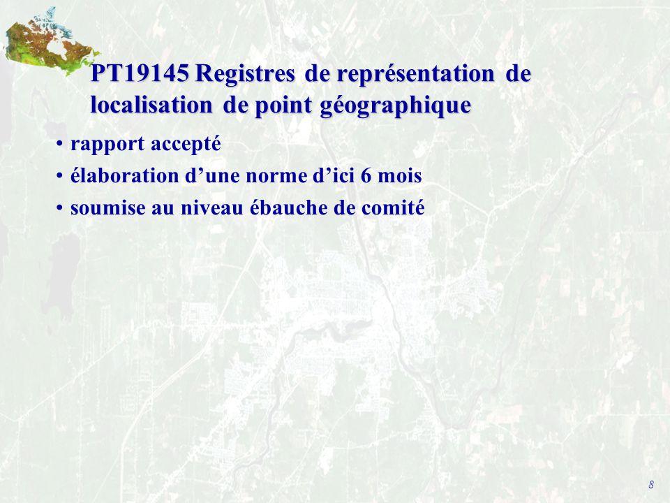 8 PT19145 Registres de représentation de localisation de point géographique rapport accepté élaboration d'une norme d'ici 6 mois soumise au niveau ébauche de comité
