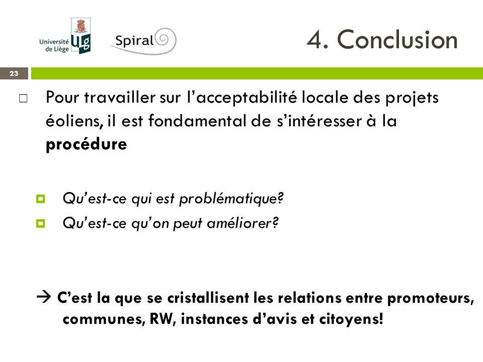 4. Conclusion 23  Pour travailler sur l'acceptabilité locale des projets éoliens, il est fondamental de s'intéresser à la procédure  Qu'est-ce qui e