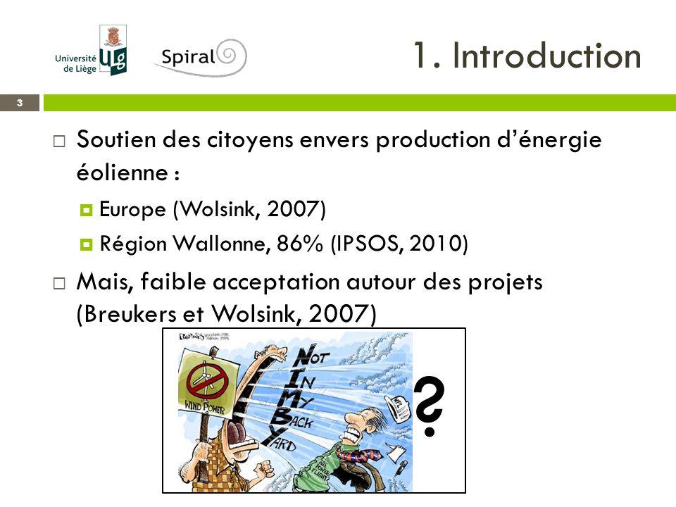 1. Introduction 3  Soutien des citoyens envers production d'énergie éolienne :  Europe (Wolsink, 2007)  Région Wallonne, 86% (IPSOS, 2010)  Mais,