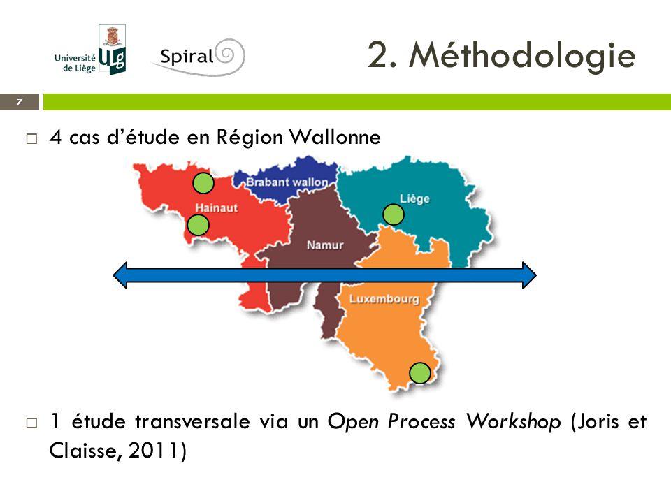 2. Méthodologie 7  4 cas d'étude en Région Wallonne  1 étude transversale via un Open Process Workshop (Joris et Claisse, 2011)