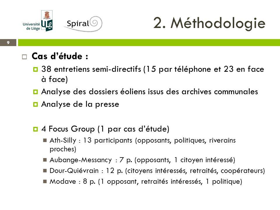2. Méthodologie 9  Cas d'étude :  38 entretiens semi-directifs (15 par téléphone et 23 en face à face)  Analyse des dossiers éoliens issus des arch