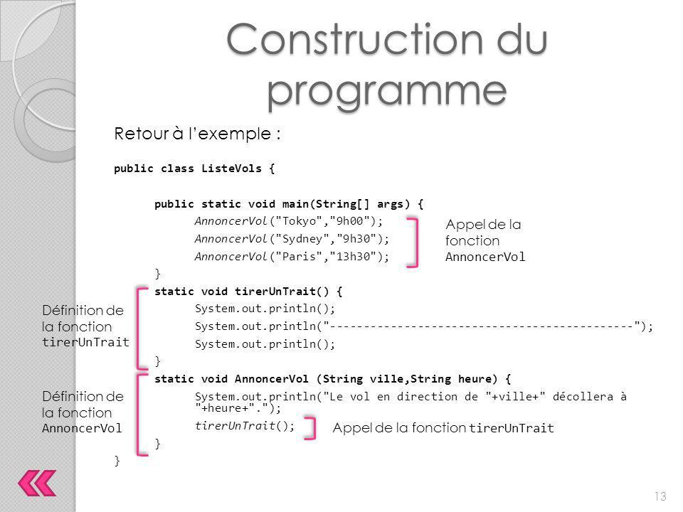 Construction du programme Retour à l'exemple : public class ListeVols { public static void main(String[] args) { AnnoncerVol(