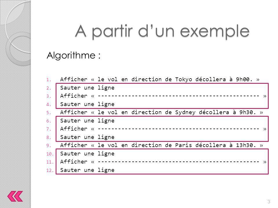 Appelons tirerUnTrait ce sous-programme, l'algorithme devient alors : A partir d'un exemple 1.