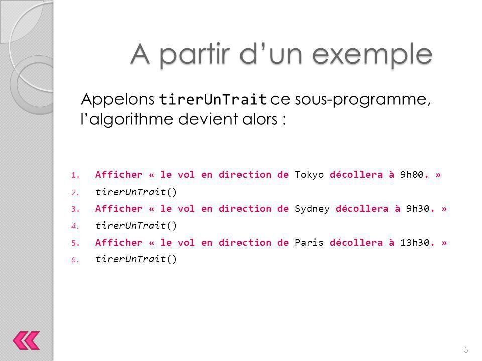 Appelons tirerUnTrait ce sous-programme, l'algorithme devient alors : A partir d'un exemple 1. Afficher « le vol en direction de Tokyo décollera à 9h0
