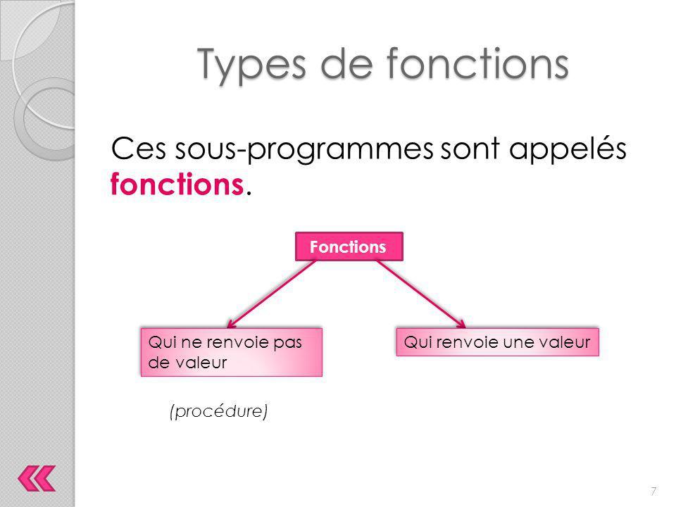 Types de fonctions Ces sous-programmes sont appelés fonctions. Fonctions Qui ne renvoie pas de valeur Qui renvoie une valeur (procédure) 7