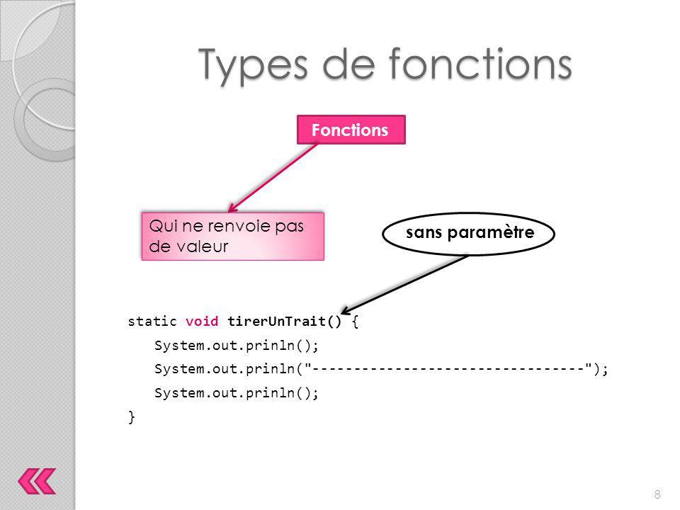 Types de fonctions static void AnnoncerVol(String ville, String heure) { System.out.prinln( Le vol en direction de +ville+ décollera à +heure+ . ); } Fonctions Qui ne renvoie pas de valeur avec paramètres 9