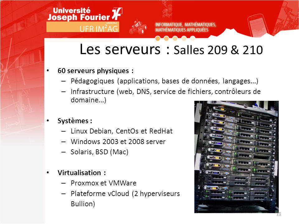 Les serveurs : Salles 209 & 210 60 serveurs physiques : – Pédagogiques (applications, bases de données, langages...) – Infrastructure (web, DNS, servi