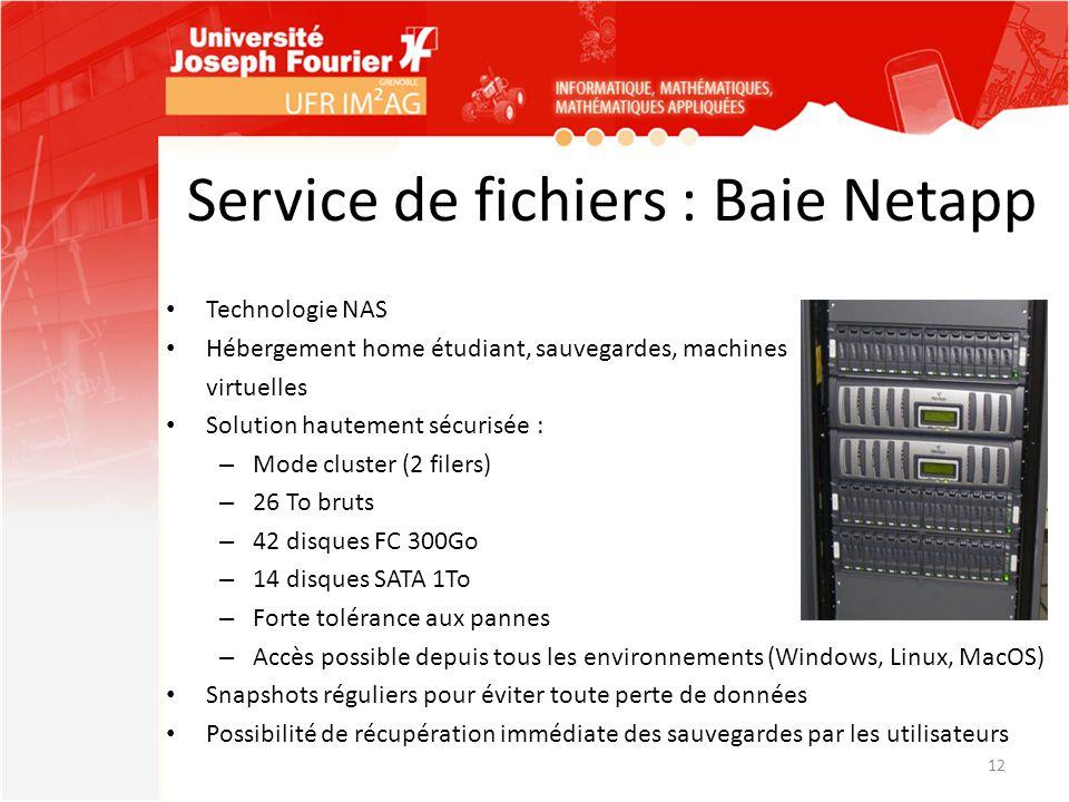 Service de fichiers : Baie Netapp Technologie NAS Hébergement home étudiant, sauvegardes, machines virtuelles Solution hautement sécurisée : – Mode cl